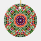 Red Poppies Nature, Flower-Mandala Ceramic Ornament