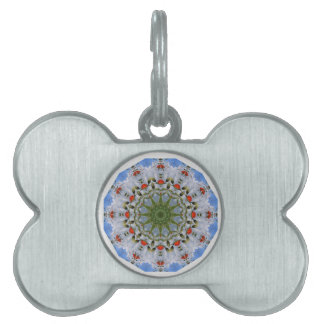 Red Poppies Nature, Flower-Mandala Pet ID Tag