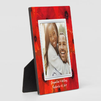 Red Poppies Newlyweds Photo Keepsake Plaque