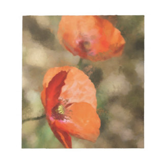Red poppies notepad