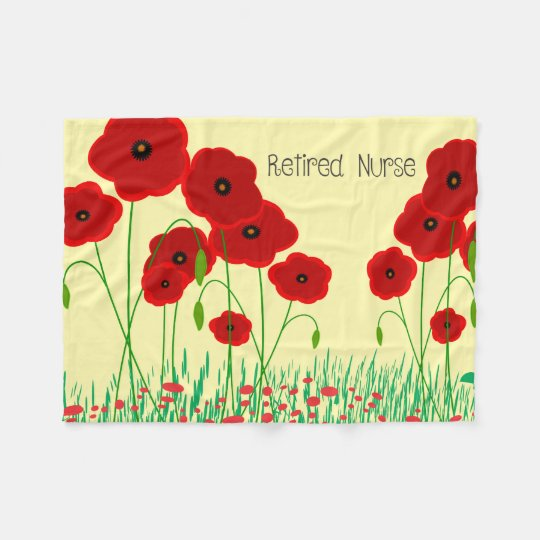Red Poppies Nurse Retirement Fleece Blanket