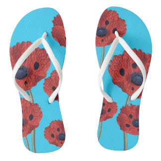 Red Poppies on Blue Flip Flops