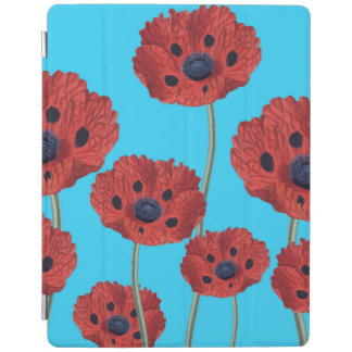 Red Poppies on Blue iPad Cover