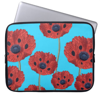 Red Poppies on Blue Laptop Sleeve