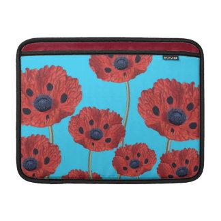 Red Poppies on Blue MacBook Sleeve