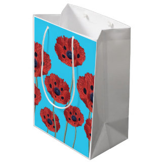 Red Poppies on Blue Medium Gift Bag