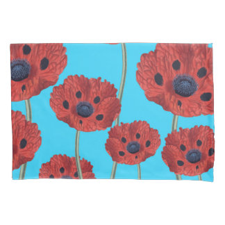 Red Poppies on Blue Pillowcase