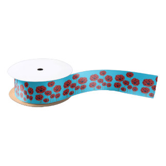Red Poppies on Blue Satin Ribbon