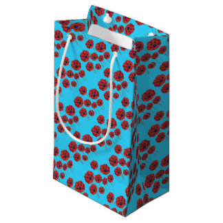 Red Poppies on Blue Small Gift Bag