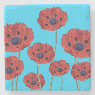 Red Poppies on Blue Stone Coaster