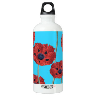 Red Poppies on Blue Water Bottle