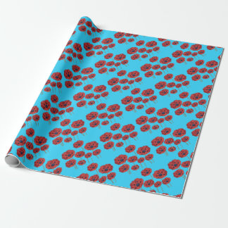 Red Poppies on Blue Wrapping Paper