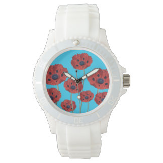 Red Poppies on Blue Wristwatch