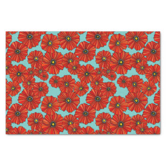 red poppies on dusty turquoise tissue paper