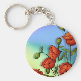 Red Poppies on Multi-Color Background: Art Basic Round Button Keychain