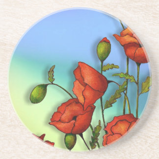Red Poppies on Multi-Color Background: Art Coasters