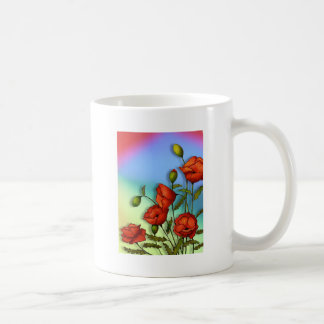 Red Poppies on Multi-Color Background: Art Coffee Mug