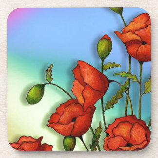 Red Poppies on Multi-Color Background: Art Drink Coasters