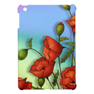 Red Poppies on Multi-Color Background: Art iPad Mini Cover