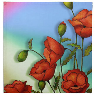 Red Poppies on Multi-Color Background: Art Napkin