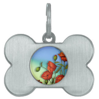 Red Poppies on Multi-Color Background: Art Pet Name Tags