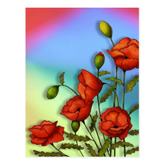 Red Poppies on Multi-Color Background: Art Postcard