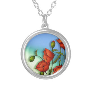 Red Poppies on Multi-Color Background: Art Silver Plated Necklace