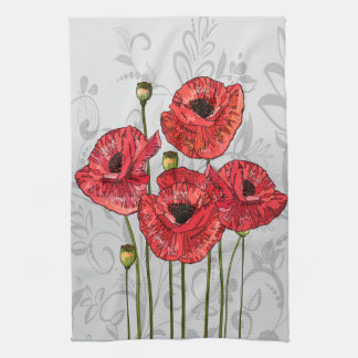 Red Poppies on Whimsical Gray Floral Kitchen Towel