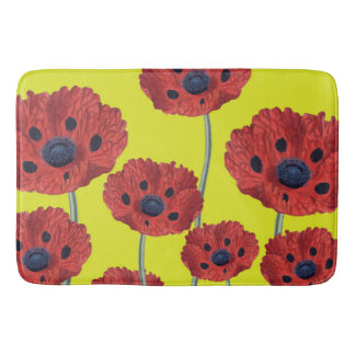Red Poppies On Yellow Bath Mat