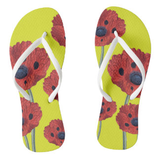Red Poppies On Yellow Flip Flops