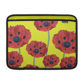 Red Poppies On Yellow MacBook Sleeve