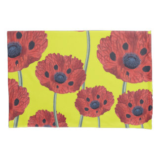 Red Poppies On Yellow Pillowcase
