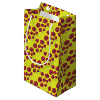 Red Poppies On Yellow Small Gift Bag