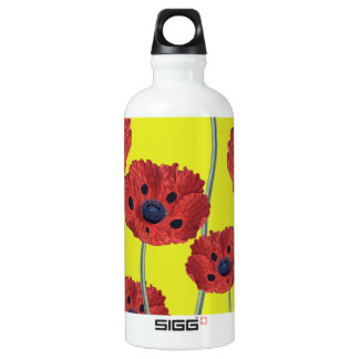 Red Poppies On Yellow Water Bottle