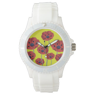 Red Poppies On Yellow Wrist Watches