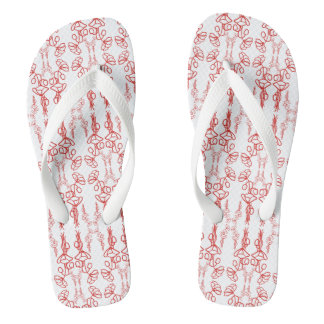 Red Poppies Outline Pattern on White to Customize Flip Flops