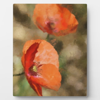 Red poppies plaque
