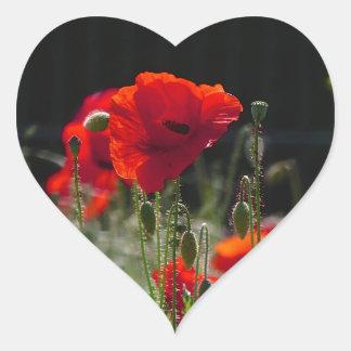 Red Poppies / poppy field  /  Roter Mohn Heart Sticker