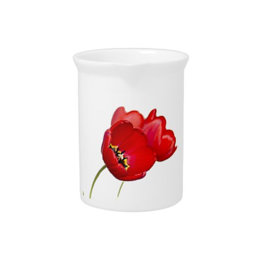 Red Poppies Poppy Flower Yellow Centre Photograph Beverage Pitcher