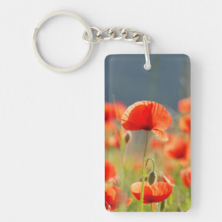 Red Poppies Poppy Flowers Blue Sky Double-Sided Rectangular Acrylic Keychain