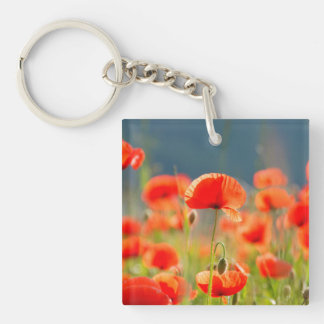 Red Poppies Poppy Flowers Blue Sky Double-Sided Square Acrylic Keychain