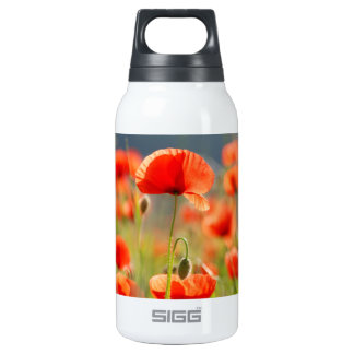 Red Poppies Poppy Flowers  Blue Sky Insulated Water Bottle