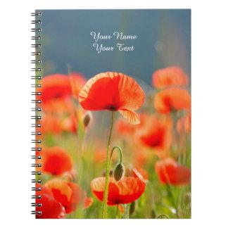 Red Poppies Poppy Flowers Blue Sky Notebook