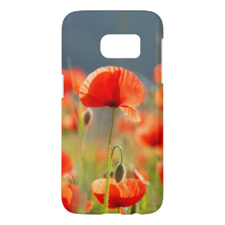 Red Poppies Poppy Flowers Blue Sky Samsung Galaxy S7 Case