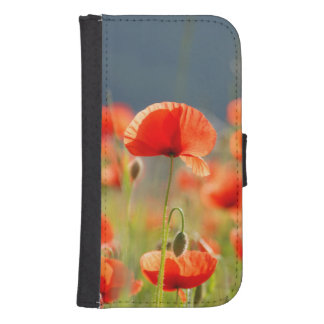 Red Poppies Poppy Flowers  Blue Sky Samsung S4 Wallet Case