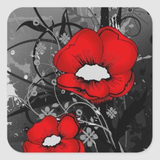 Red Poppies Square Sticker