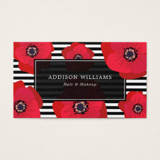 Red Poppies & Stripes Business Card