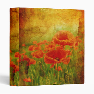 Red poppies vintage binder