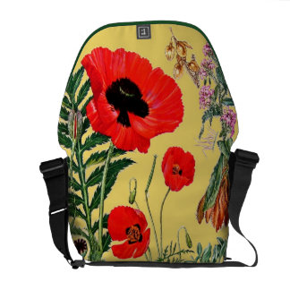Red Poppies Vintage Botanical Floral Courier Bag