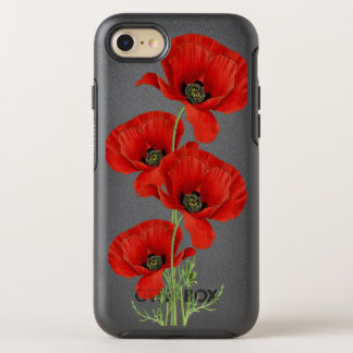Red Poppies Vintage Botanical Illustration OtterBox Symmetry iPhone 8/7 Case